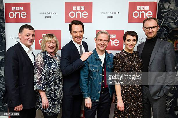 Steven Moffat Sue Vertue Benedict Cumberbatch Martin Freeman Amanda Abbington and Mark Gatiss attend a screening of the Sherlock 2016 Christmas...