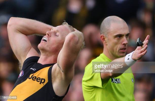 Steven Morris of the Tigers reacts after giving a free kick away to Eddie Betts of the Blues during the First Elimination Final AFL match between the...