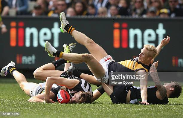 Steven Morris of the Tigers tumbles over Darcy Moore of the Magpies and Dane Swan during the round 21 AFL match between the Collingwood Magpies and...