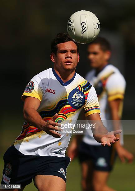 Steven Motlop controls the ball during an Indigenous Australian International Rules Team training session at Gosch's Paddock on October 11, 2013 in...