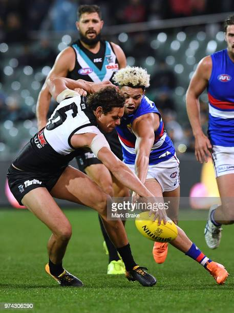 Steven Motlop of Port Adelaide competes with Jason Johannisen of the Bulldogs during the round 13 AFL match between Port Adelaide Power and the...