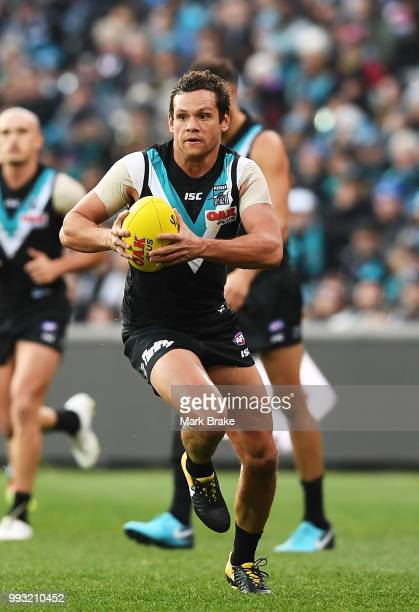 Steven Motlop of Port Adelaide during the round 16 AFL match between the Port Adelaide Power and the St Kilda Saints at Adelaide Oval on July 7 2018...