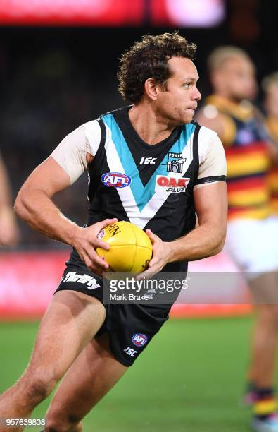 Steven Motlop of Port Adelaide during the round eight AFL match between the Port Adelaide Power and the Adelaide Crows at Adelaide Oval on May 12...