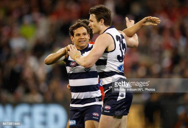 Steven Motlop of the Cats and Patrick Dangerfield of the Cats celebrate during the 2017 AFL Second Semi Final match between the Geelong Cats and the...