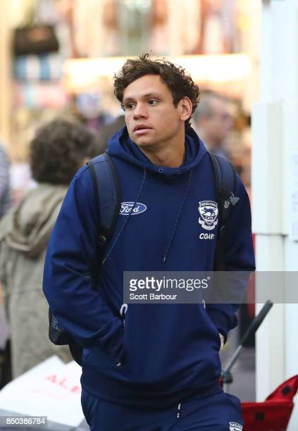 Steven Motlop of the Cats arrives to fly to Adelaide at Melbourne Airport on September 21 2017 in Melbourne Australia
