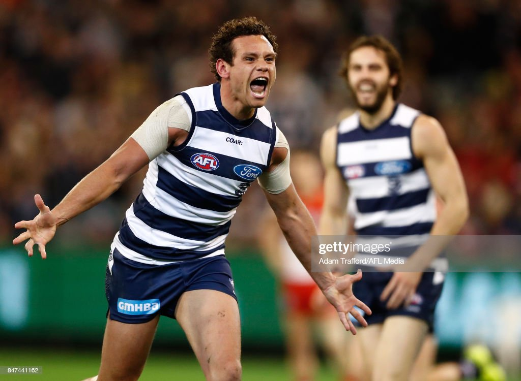 Steven Motlop of the Cats celebrates a goal during the 2017 AFL Second Semi Final match between the Geelong Cats and the Sydney Swans at the Melbourne Cricket Ground on September 15, 2017 in Melbourne, Australia.