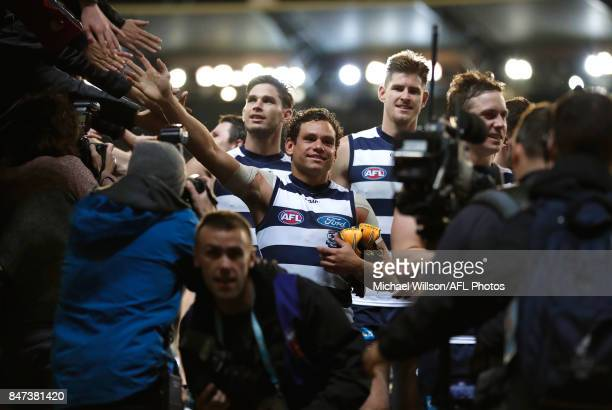 Steven Motlop of the Cats celebrates during the 2017 AFL Second Semi Final match between the Geelong Cats and the Sydney Swans at the Melbourne...