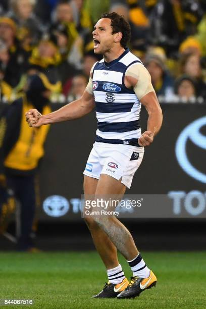 Steven Motlop of the Cats celebrates kicking a goal during the AFL Second Qualifying Final Match between the Geelong Cats and the Richmond Tigers at...