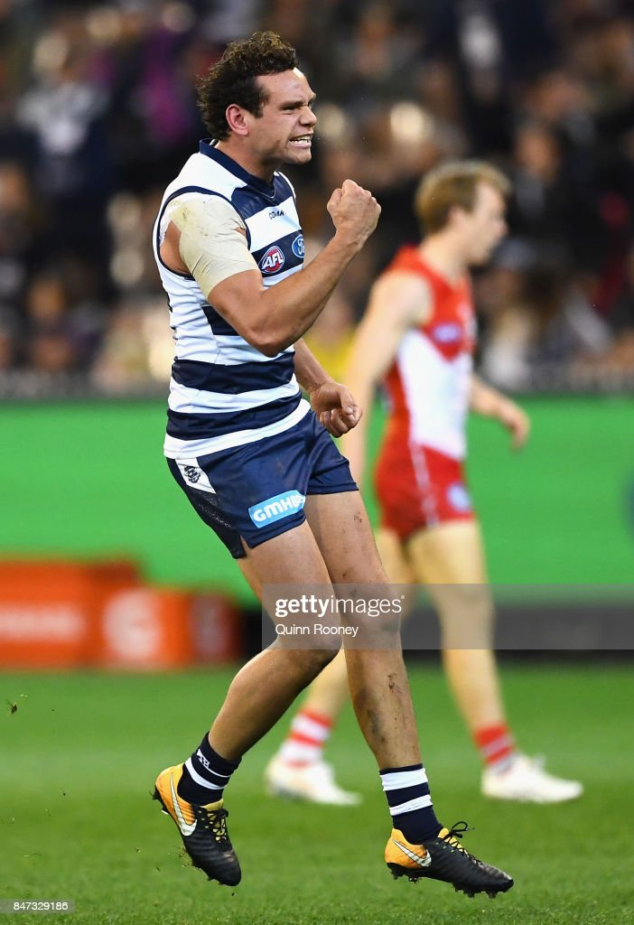 Steven Motlop of the Cats celebrates kicking a goal during the Second Semi Final AFL match between the Geelong Cats and the Sydney Swans at Melbourne Cricket Ground on September 15, 2017 in Melbourne, Australia.