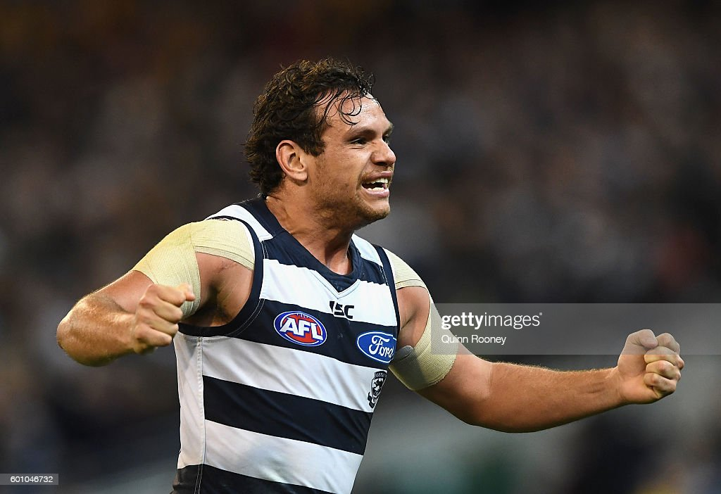 Steven Motlop of the Cats celebrates winning the 2nd AFL Qualifying Final match between the Geelong Cats and the Hawthorn Hawks at Melbourne Cricket Ground on September 9, 2016 in Melbourne, Australia.