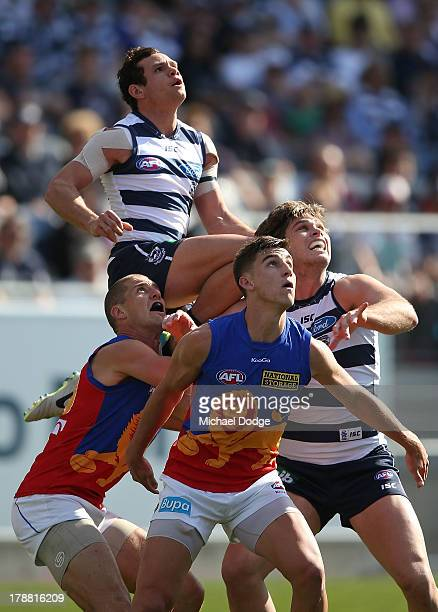 Steven Motlop of the Cats jumps high for the ball over teamate Tom Hawkins and Matt McGuire and Elliott Yeo of the Lions during the round 23 AFL...