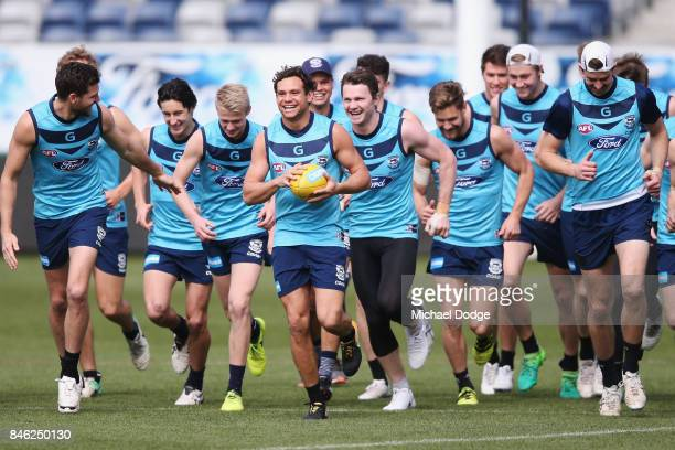 Steven Motlop of the Cats reacts during the Geelong Cats AFL training session at Simonds Stadium on September 13 2017 in Geelong Australia