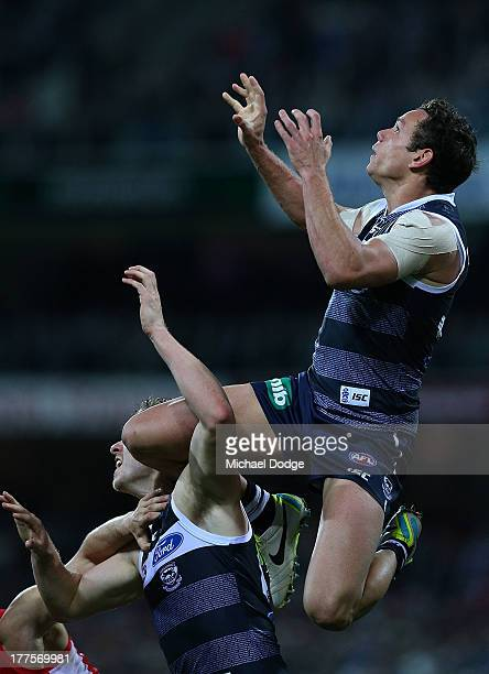 Steven Motlop of the cats takes a high mark during the round 22 AFL match between the Geelong Cats and the Sydney Swans at Simonds Stadium on August...