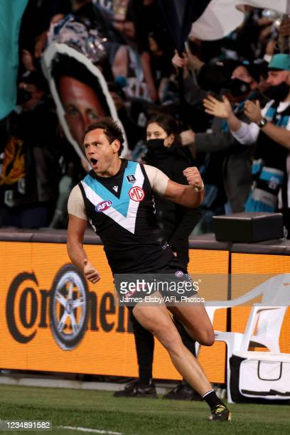 Steven Motlop of the Power celebrates a goal during the 2021 AFL Round 23 match between the Adelaide Crows and the North Melbourne Kangaroos at...