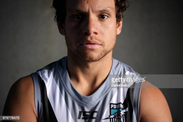 Steven Motlop of the Power poses for a portrait during a Port Power AFL training session at the Adelaide Oval on June 21 2018 in Adelaide Australia