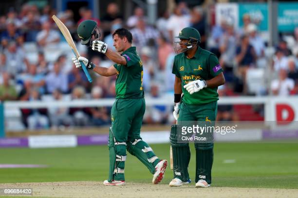 Steven Mullaney celebrates his century with Samit Patel of Nottinghamshire during the Royal London OneDay Cup Semi Final between Essex and...