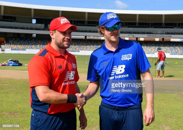 Steven Mullaney of North and Sam Northeast of South at the start of the ECB North v South Series match One at Kensington Oval on March 18 2018 in...
