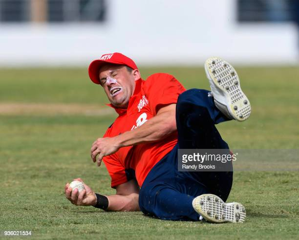 Steven Mullaney of North fielding during the ECB North v South Series match Two at Kensington Oval on March 21 2018 in Bridgetown Barbados