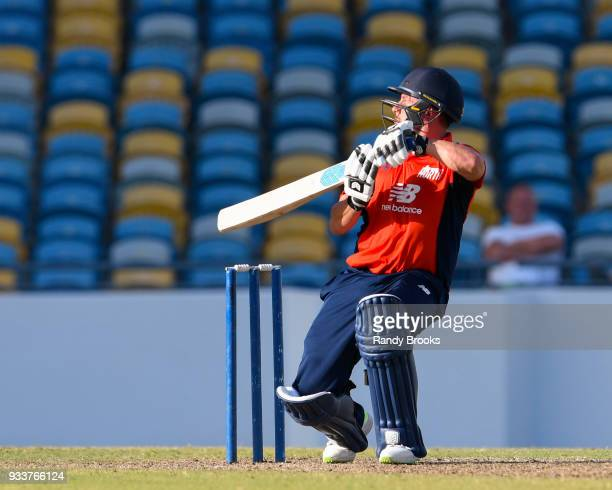 Steven Mullaney of North hits 4 during the ECB North v South Series match One at Kensington Oval on March 18 2018 in Bridgetown Barbados
