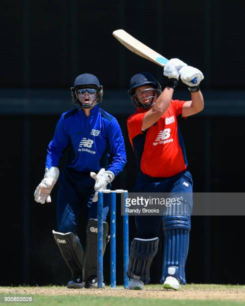 Steven Mullaney of North hits 4 during the ECB North v South Series match Two at Kensington Oval on March 21 2018 in Bridgetown Barbados The keeper...