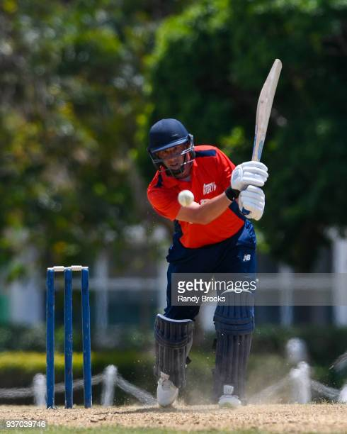Steven Mullaney of North hits a four during the ECB North v South Series match Three at 3Ws Oval on March 23 2018 in Bridgetown Barbados