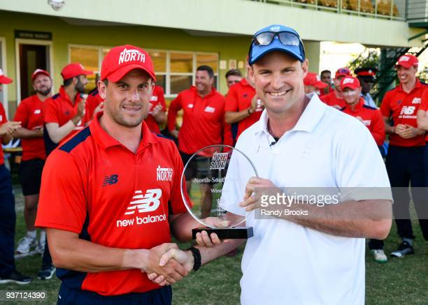 Steven Mullaney of North receive the winners trophy form Andrew Strauss ECB Director of cricket at the end of the ECB North v South Series match...