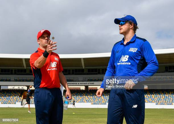 Steven Mullaney of North toss the coin as Sam Northeast of South looks on at the start of the ECB North v South Series match Two at Kensington Oval...