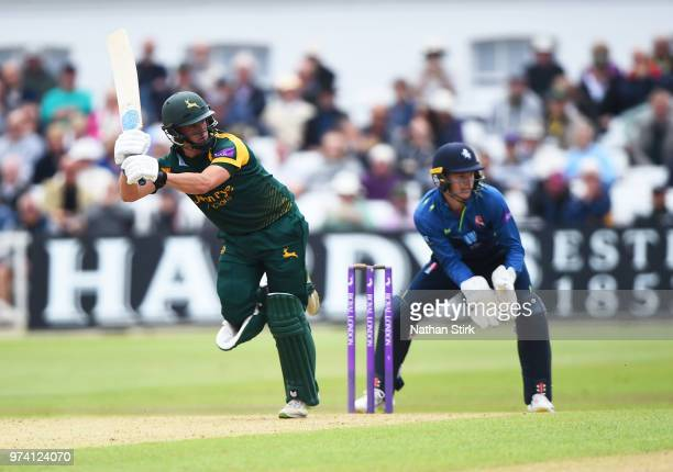 Steven Mullaney of Nottingham batting during the Royal London OneDay Cup match between Nottinghamshire Outlaws and Kent Spitfires at Trent Bridge on...