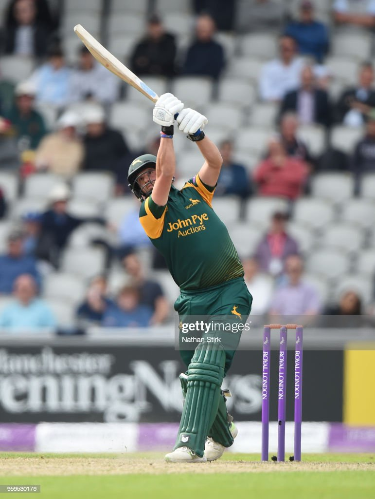 Steven Mullaney of Nottingham drives the ball for six during Royal London One-Day Cup match between Lancashire and Nottinghamshire at Old Trafford on May 17, 2018 in Manchester, England.