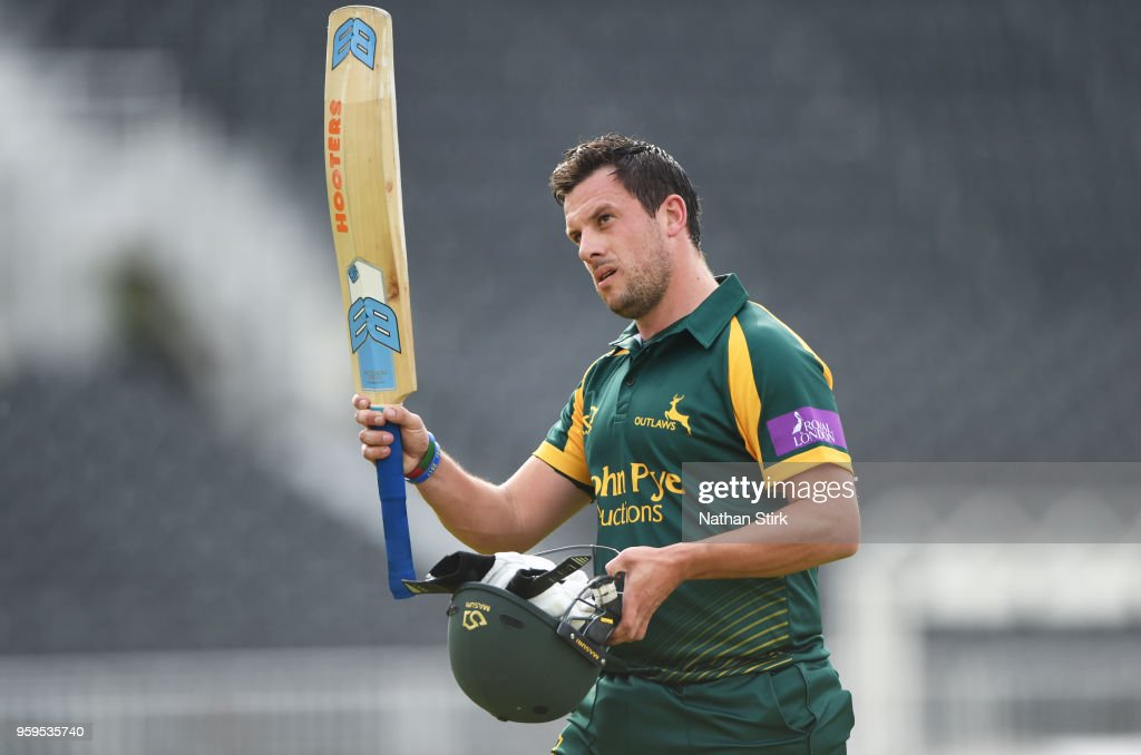 Steven Mullaney of Nottingham raises his bat after scoring 70 runs during Royal London One-Day Cup match between Lancashire and Nottinghamshire at Old Trafford on May 17, 2018 in Manchester, England.