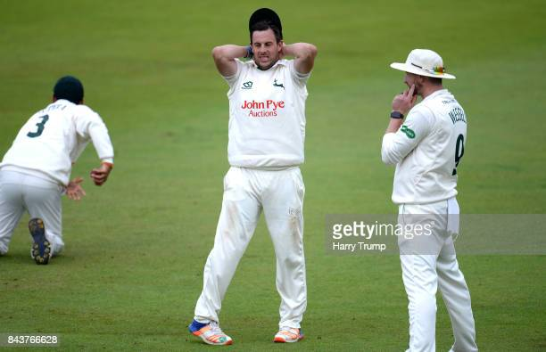 Steven Mullaney of Nottinghamshire and Riki Wessels of Nottinghamshire reacts during Day Three of the Specsavers County Championship Division Two...