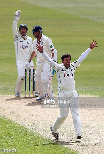 Steven Mullaney of Nottinghamshire appeals succesfully for the wicket of Dale Benkenstein of Durham during day two of the LV County Championship...