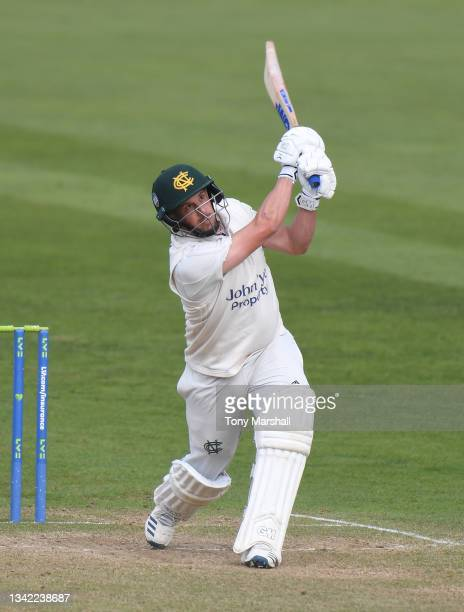 Steven Mullaney of Nottinghamshire bats during the LV= Insurance County Championship match between Nottinghamshire and Yorkshire at Trent Bridge on...