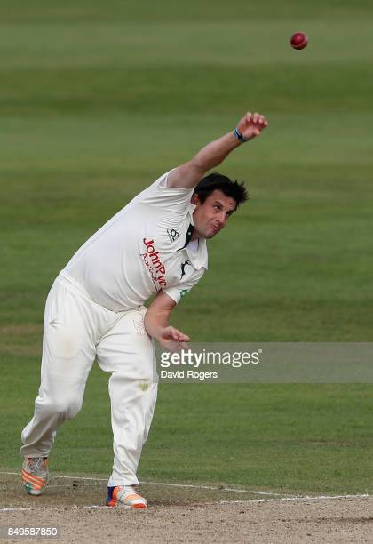 Steven Mullaney of Nottinghamshire bowls during the Specsavers County Championship Division Two match between Northamptonshire and Nottinghamshire at...