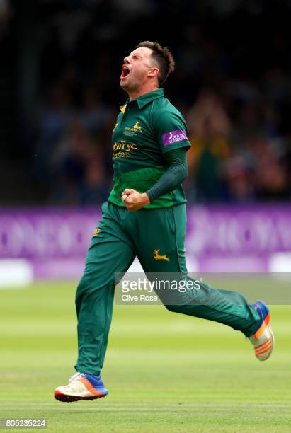 Steven Mullaney of Nottinghamshire celebrates the wicket of Kumar Sangakkara of Surrey during the Royal London OneDay Cup Final betwen...