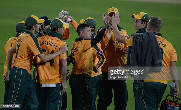 Steven Mullaney of Nottinghamshire celebrates with teamates after taking the wicket of Phil Mustard of Durham during the Royal London OneDay Cup...