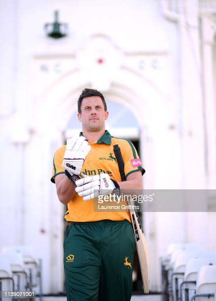 Steven Mullaney of Nottinghamshire County Cricket Club poses for a portrait during the Nottinghamshire CCC Photocall at Trent Bridge on March 29 2019...