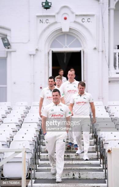 Steven Mullaney of Nottinghamshire County Cricket Club walks his team out of the pavilion ahead of the Nottinghamshire CCC Photocall at Trent Bridge...