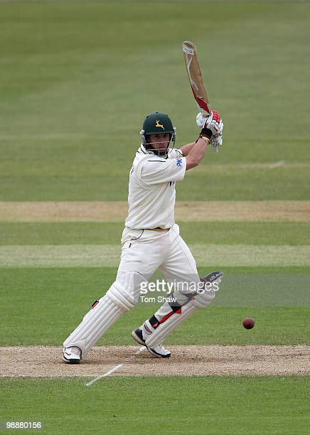 Steven Mullaney of Nottinghamshire hits out on his way to a century century during the LV County Championship match between Hampshire and...
