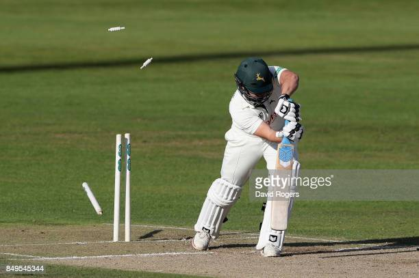 Steven Mullaney of Nottinghamshire is bowled by Rory Kleinveldt during the Specsavers County Championship Division Two match between Northamptonshire...