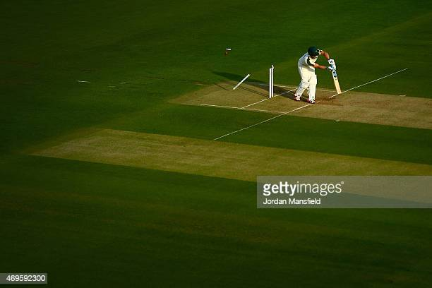 Steven Mullaney of Nottinghamshire is bowled out by Tom Helm of Middlesex during day two of the LV County Championship Division One match between...