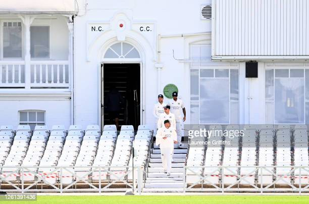 Steven Mullaney of Nottinghamshire leads the team out for a Friendly Match between Nottinghamshire and Leicestershire at Trent Bridge on July 28,...