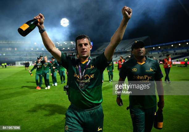 Steven Mullaney of Notts celebrates victory the NatWest T20 Blast Final between Birmingham Bears and Notts Outlaws at Edgbaston on September 2 2017...