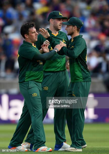 Steven Mullaney of Notts celebrates with team mates after taking the wicket of James Vince of Hampshire during the NatWest T20 Blast SemiFinal match...