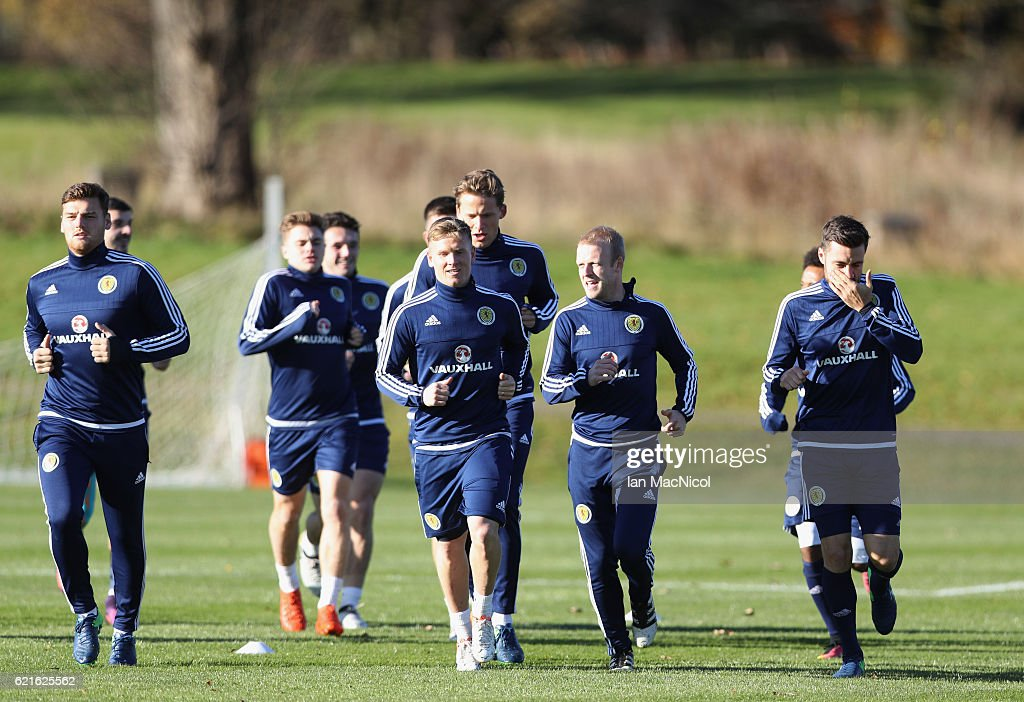 Steven Naismith and Matt Ritchie in discussion as they warm up during a Scotland training session at Mar Hall on November 7, 2016 in Glasgow, Scotland. Scotland are due to face England in a World Cup qualifier on November 11th at Wembley.