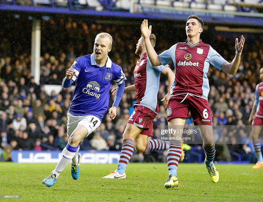 Steven Naismith of Everton celebrates after scoring the first goal during the Barclays Premier League match between Everton and Aston Villa at Goodison Park on February 1, 2014 in Liverpool England.