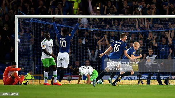 Steven Naismith of Everton celebrates after scoring the opening goal during the UEFA Europa League Group H match between Everton and VFL Wolfsburg on...