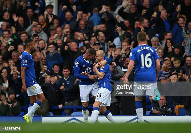 Steven Naismith of Everton celebrates scoring his second goal with Ross Barkley of Everton during the Barclays Premier League match between Everton...
