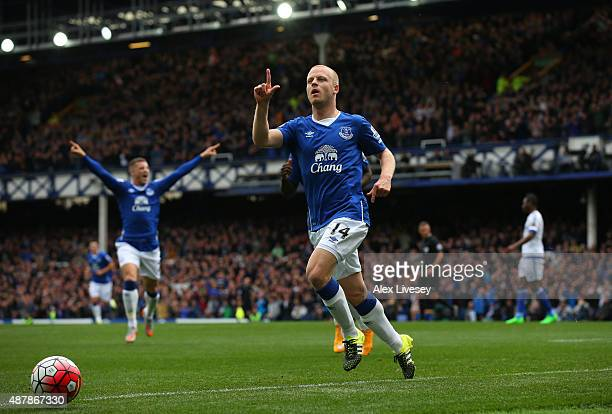 Steven Naismith of Everton celebrates scoring the opening goal during the Barclays Premier League match between Everton and Chelsea at Goodison Park...