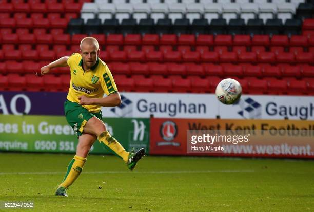 Steven Naismith of Norwich City attempts a shot during the Pre Season Friendly match between Charlton Athletic and Norwich City at The Valley on July...